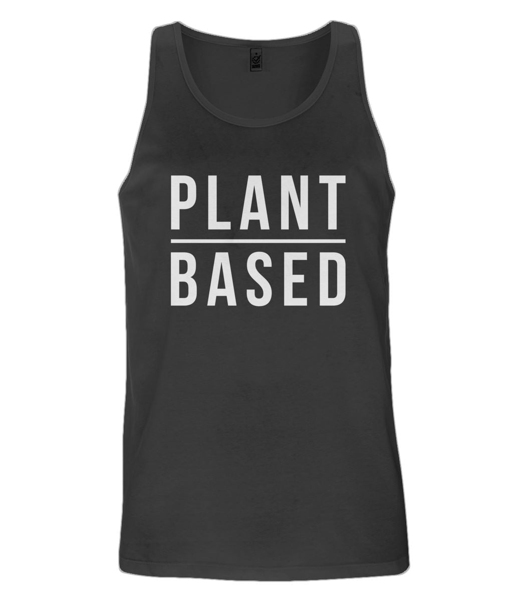 """Plant Based"" Men's Vegan Vest - 100% Organic Cotton Clothing Vegan Original Black Small"
