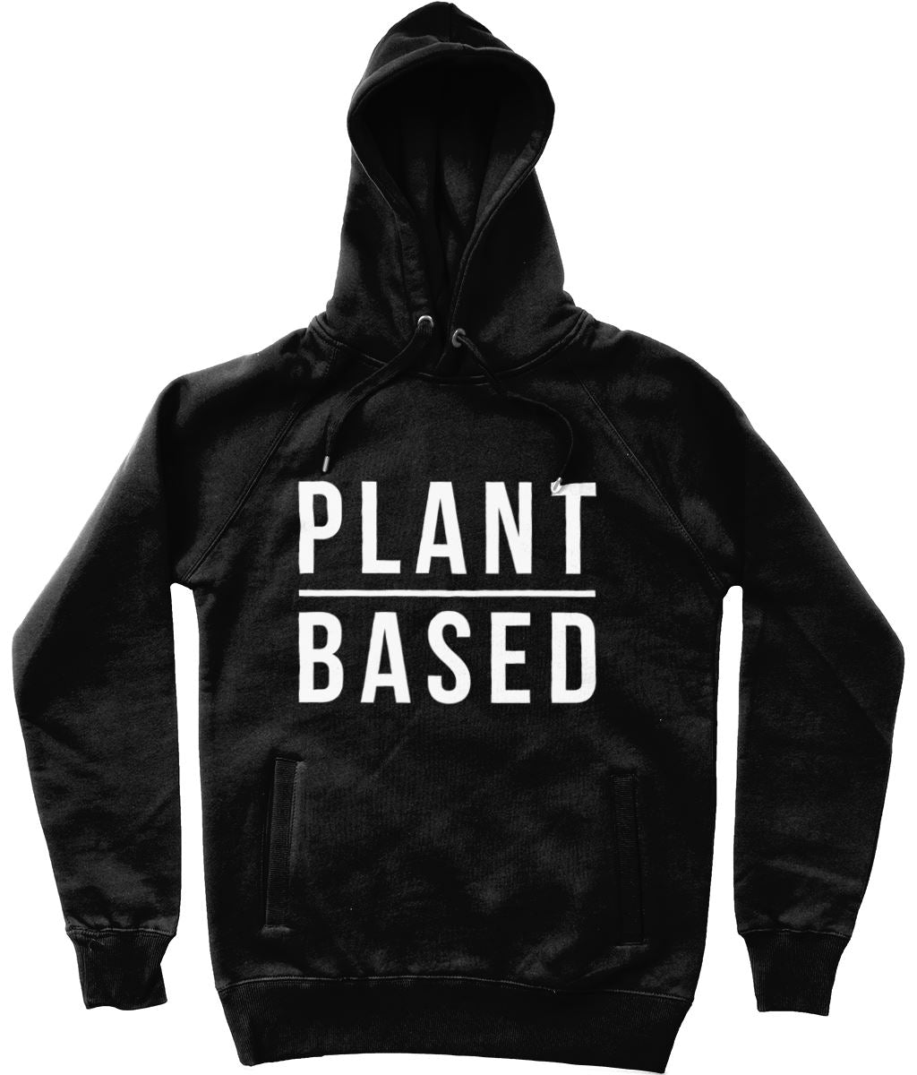 """Plant Based"" Vegan Hoodie - 100% Organic Cotton (Unisex) Clothing Vegan Original Black X-Small"