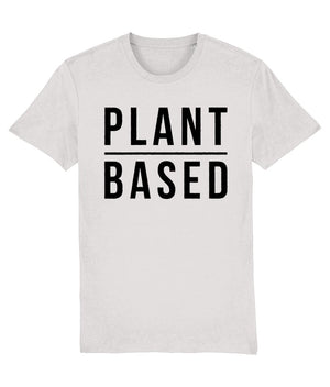 """Plant Based"" Vegan T-Shirt - 100% Organic Cotton (Unisex) Clothing Vegan Original Cream Heather Grey XX-Small"