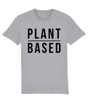 """Plant Based"" Vegan T-Shirt - 100% Organic Cotton (Unisex) Clothing Vegan Original Mid Heather Grey XX-Small"
