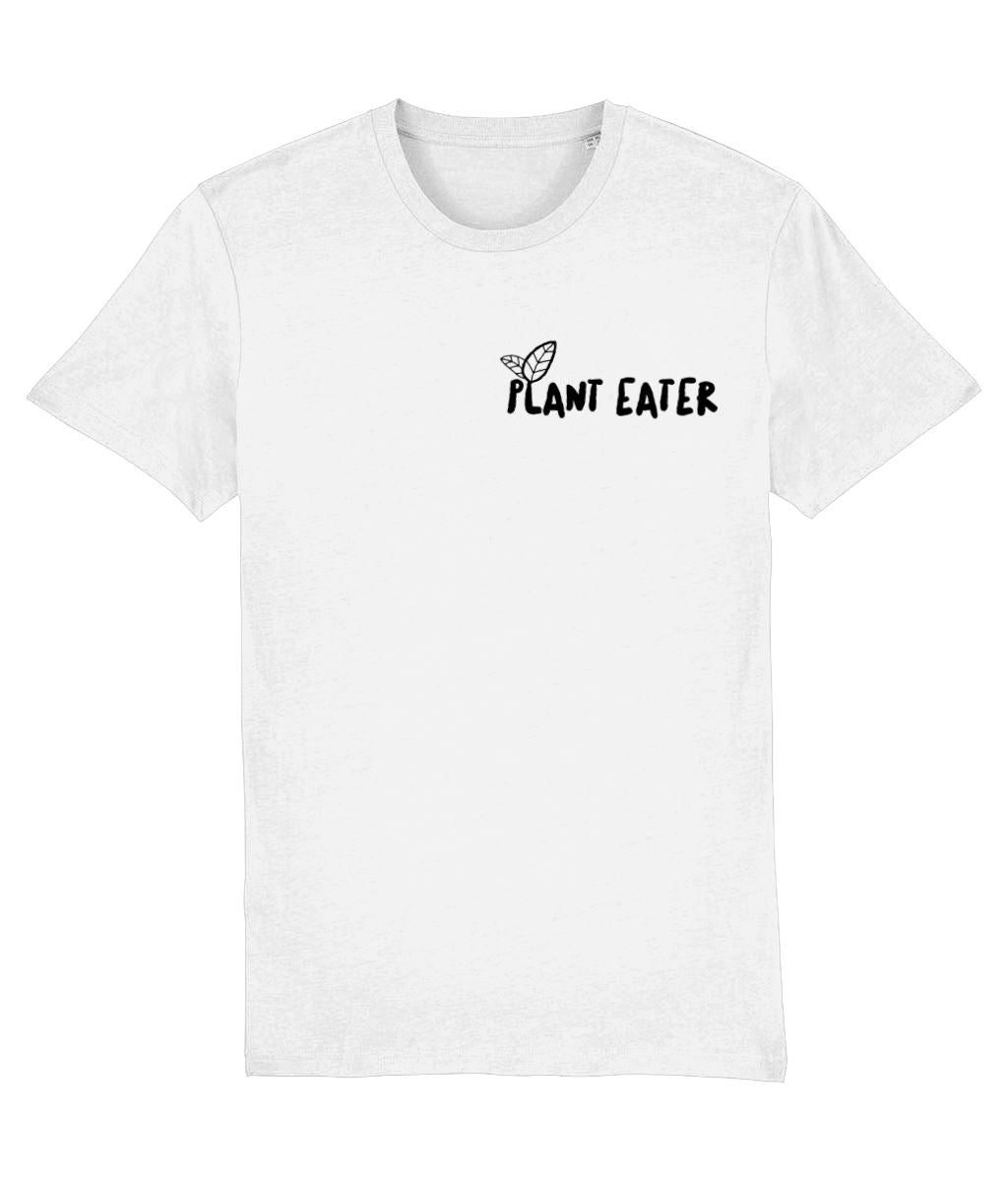 """Plant Eater"" Vegan T-Shirt - 100% Organic Cotton (Unisex) Clothing Vegan Original White XX-Small"