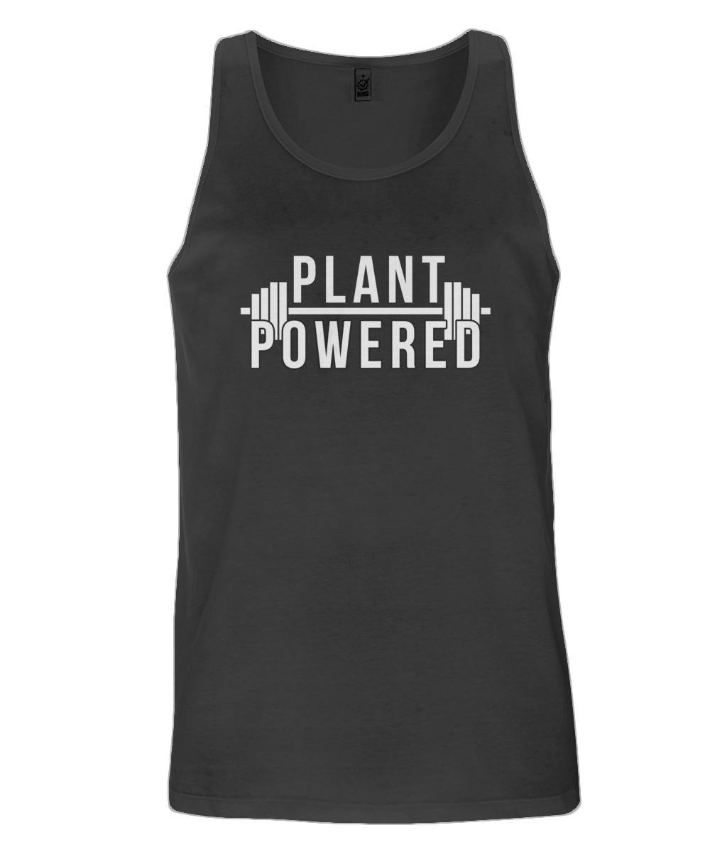 """Plant-Powered"" Men's Vegan Vest - 100% Organic Cotton Clothing Vegan Original Black Small"