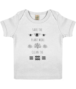 """Save the Bees, Plant More Trees, Clean the Seas"" Baby Lap Vegan T-Shirt Clothing Vegan Original 3-6 months White"