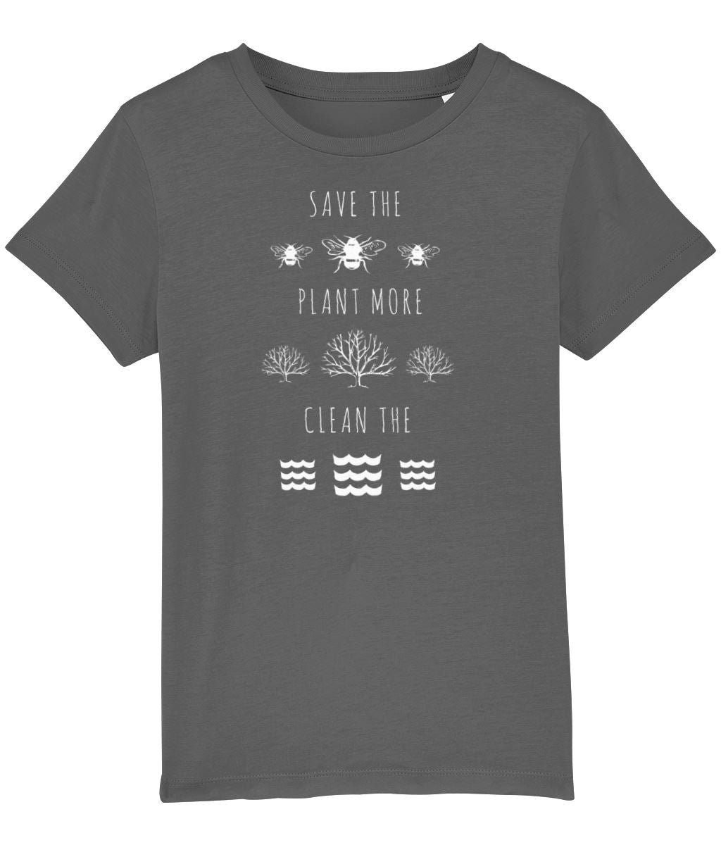 """Save the Bees, Plant More Trees, Clean the Seas"" Children's Vegan T-Shirt (Unisex) Clothing Vegan Original Anthracite 3-4 years"