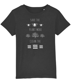"""Save the Bees, Plant More Trees, Clean the Seas"" Children's Vegan T-Shirt (Unisex) Clothing Vegan Original Dark Heather Grey 3-4 years"