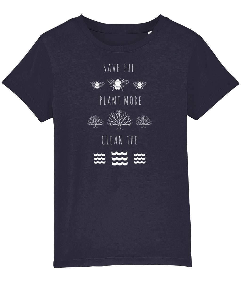 """Save the Bees, Plant More Trees, Clean the Seas"" Children's Vegan T-Shirt (Unisex) Clothing Vegan Original French Navy 3-4 years"