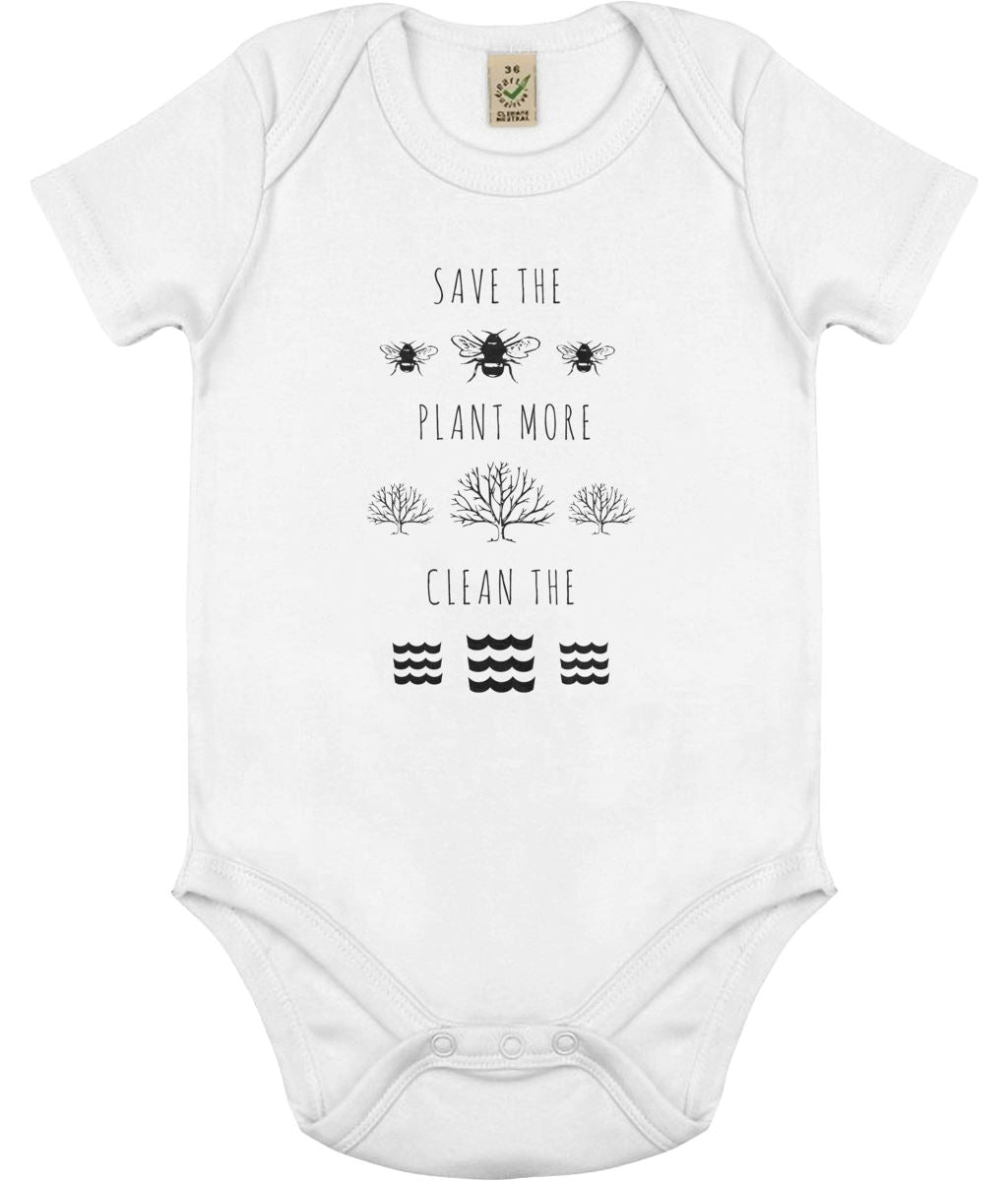 """Save the Bees, Plant More Trees, Clean the Seas"" Vegan Babygrow Clothing Vegan Original White 0-3 months"