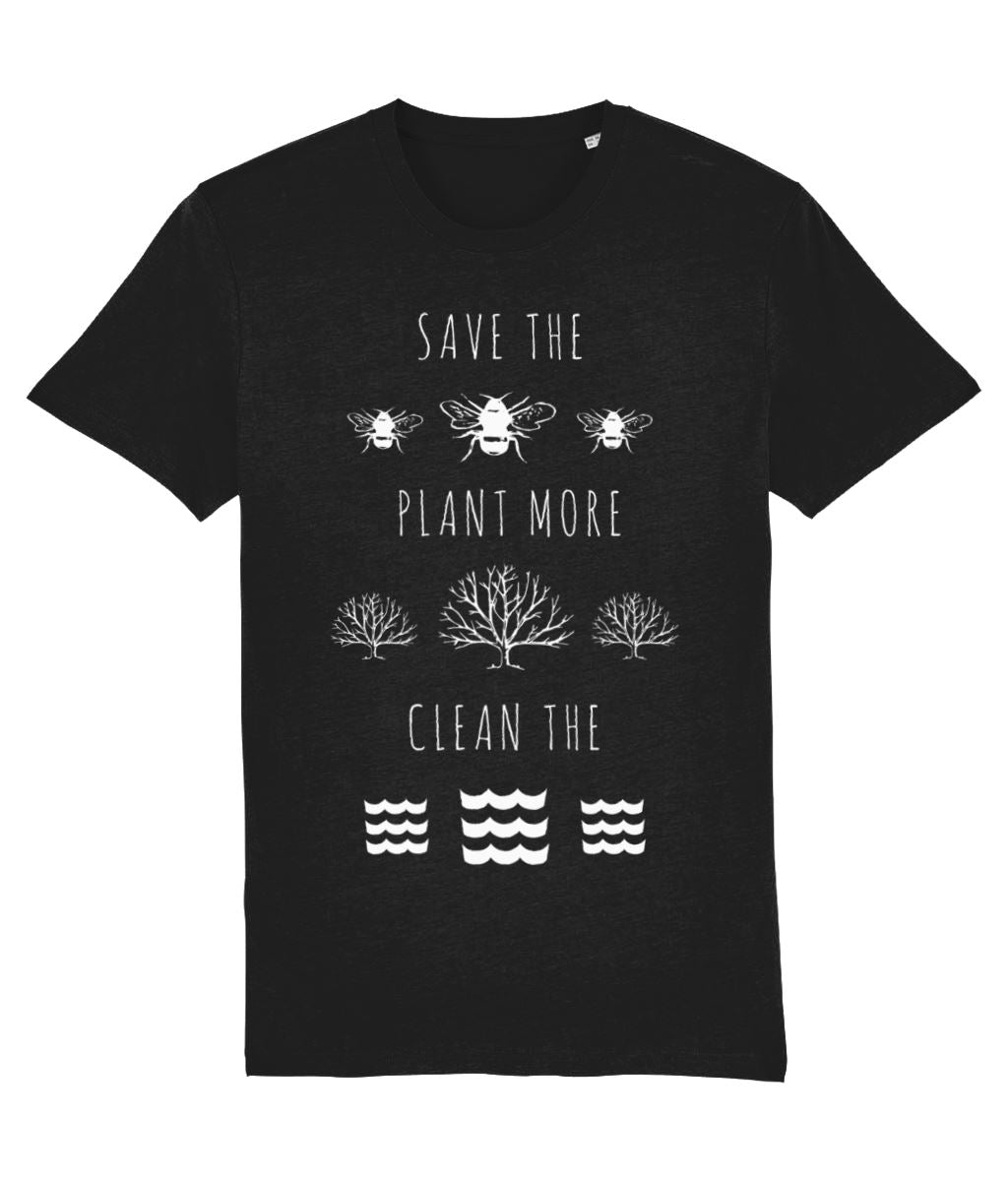 """Save the Bees, Plant More Trees, Clean the Seas"" Vegan T-Shirt - Dark Colours (Unisex) Clothing Vegan Original Black XX-Small"