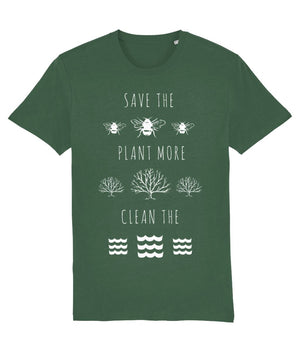 """Save the Bees, Plant More Trees, Clean the Seas"" Vegan T-Shirt - Dark Colours (Unisex) Clothing Vegan Original Bottle Green X-Small"