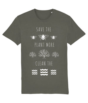 """Save the Bees, Plant More Trees, Clean the Seas"" Vegan T-Shirt - Dark Colours (Unisex) Clothing Vegan Original Khaki XX-Small"