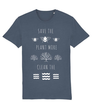 """Save the Bees, Plant More Trees, Clean the Seas"" Vegan T-Shirt - Dark Colours (Unisex) Clothing Vegan Original Stargazer X-Small"