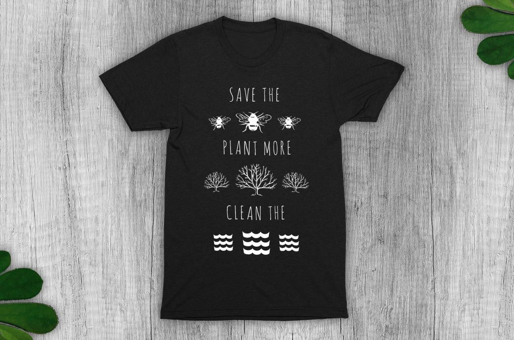 """Save the Bees, Plant More Trees, Clean the Seas"" Vegan T-Shirt - Dark Colours (Unisex) Clothing Vegan Original"