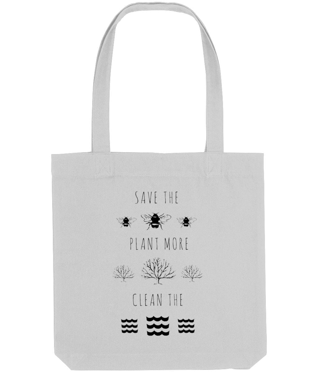 """Save the Bees, Plant More Trees, Clean the Seas"" Vegan Tote Bag Clothing Vegan Original Heather Grey"