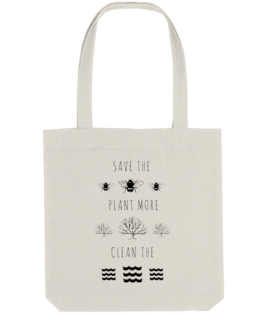 """Save the Bees, Plant More Trees, Clean the Seas"" Vegan Tote Bag Clothing Vegan Original Natural"