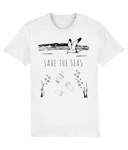 """Save The Seas"" Vegan T-Shirt - 100% Organic Cotton (Unisex) Clothing Vegan Original White XX-Small"