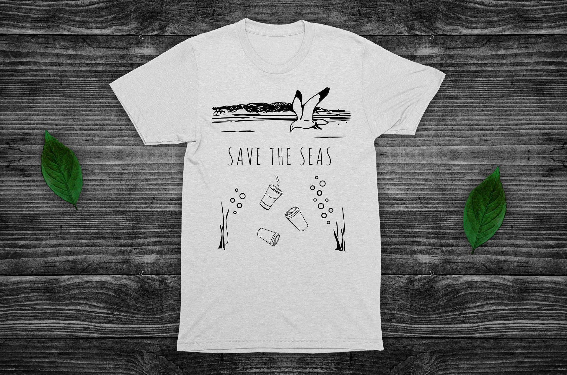 """Save The Seas"" Vegan T-Shirt - 100% Organic Cotton (Unisex) Clothing Vegan Original"