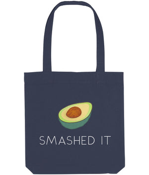 """Smashed It"" Avocado Vegan Tote Bag Clothing Vegan Original Midnight Blue"