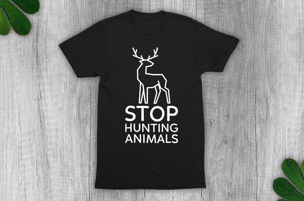 """Stop Hunting Animals"" Vegan T-Shirt - 100% Organic Cotton (Unisex) Clothing Vegan Original"