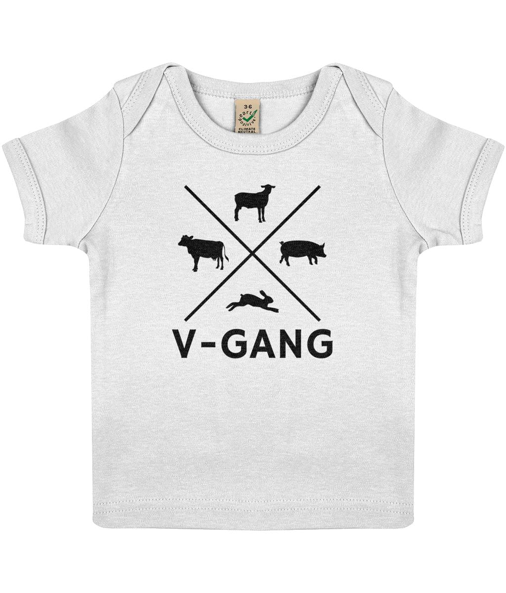 """V-Gang"" Baby Lap Vegan T-Shirt Clothing Vegan Original 3-6 months White"