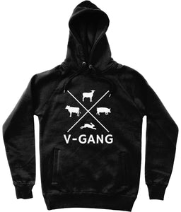 """V-Gang"" Vegan Hoodie - 100% Organic Cotton (Unisex) Clothing Vegan Original Black X-Small"