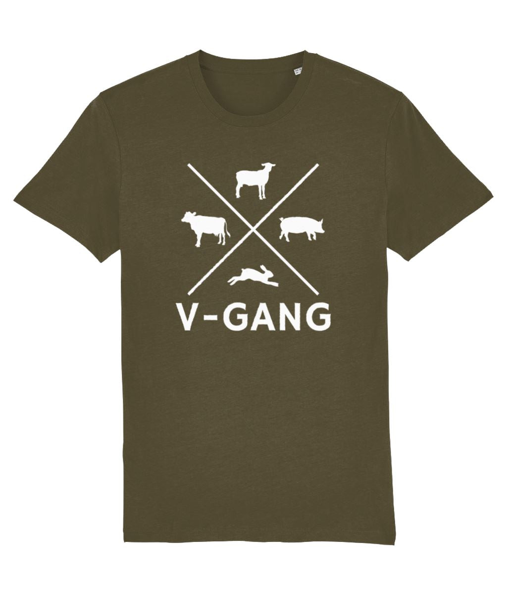 """V-Gang"" Vegan T-Shirt - 100% Organic Cotton (Unisex) Clothing Vegan Original British Khaki X-Small"