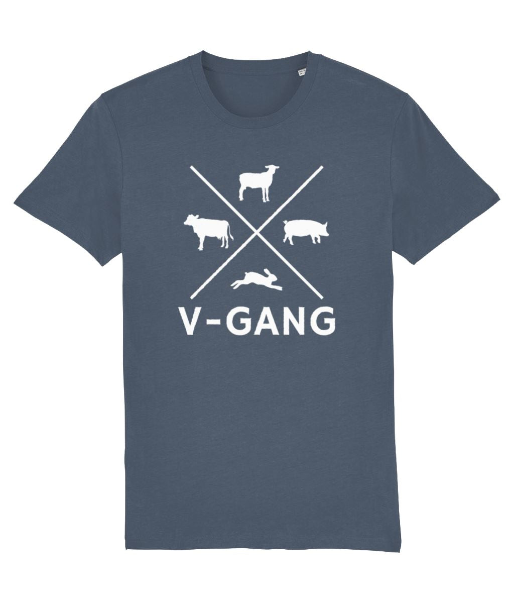 """V-Gang"" Vegan T-Shirt - 100% Organic Cotton (Unisex) Clothing Vegan Original Stargazer X-Small"