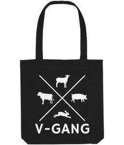 """V-Gang"" Vegan Tote Bag Clothing Vegan Original Black"