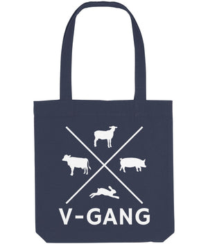 """V-Gang"" Vegan Tote Bag Clothing Vegan Original Midnight Blue"