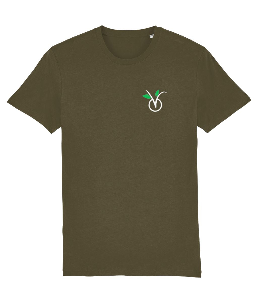 """V"" Vegan T-Shirt - 100% Organic Cotton (Unisex) Clothing Vegan Original British Khaki X-Small"