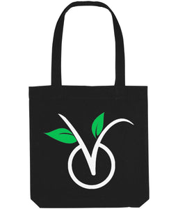 """V"" Vegan Tote Bag (Dark) Clothing Vegan Original Black"