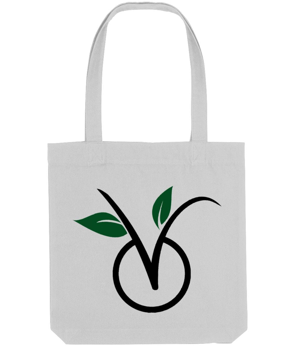 """V"" Vegan Tote Bag (Light) Clothing Vegan Original Heather Grey"