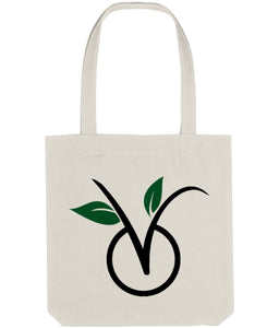 """V"" Vegan Tote Bag (Light) Clothing Vegan Original Natural"