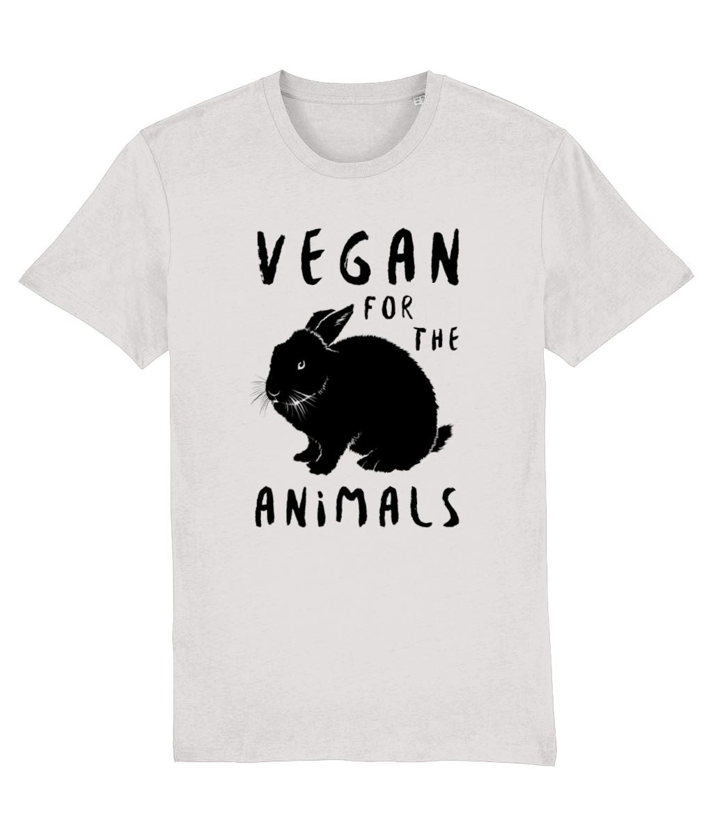 """Vegan for the Animals"" Ethical T-Shirt - 100% Organic Cotton (Unisex) Clothing Vegan Original Cream Heather Grey XX-Small"
