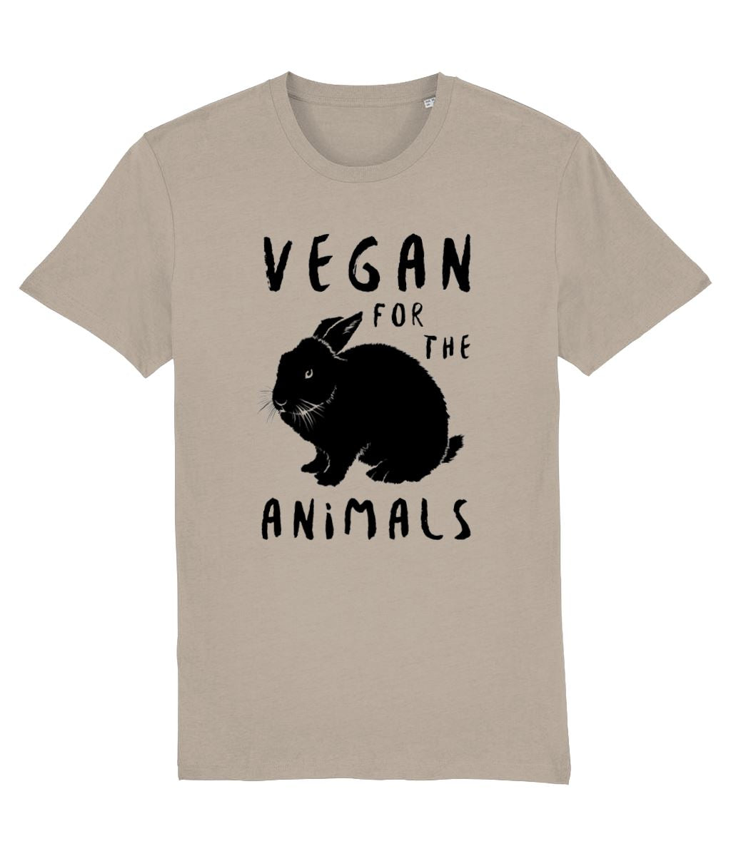 """Vegan for the Animals"" Ethical T-Shirt - 100% Organic Cotton (Unisex) Clothing Vegan Original Desert Dust X-Small"