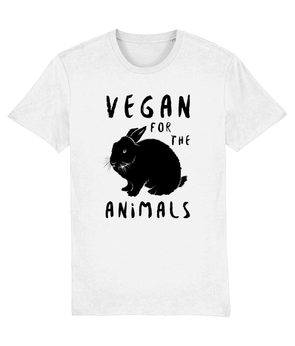"""Vegan for the Animals"" Ethical T-Shirt - 100% Organic Cotton (Unisex) Clothing Vegan Original White XX-Small"