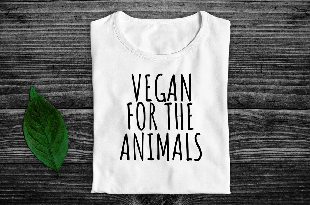 """Vegan For The Animals"" Ethical T-Shirt - 100% Organic Cotton (Unisex) Clothing Vegan Original"