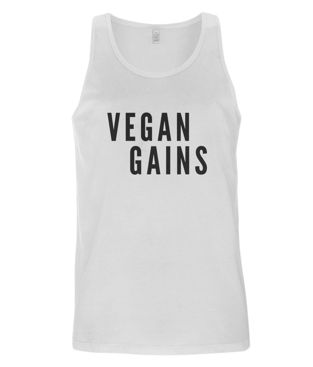"""Vegan Gains"" Men's Vest - 100% Organic Cotton Clothing Vegan Original White Small"