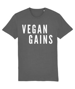 """Vegan Gains"" T-Shirt - 100% Organic Cotton (Unisex) Clothing Vegan Original Anthracite XX-Small"