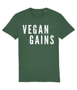 """Vegan Gains"" T-Shirt - 100% Organic Cotton (Unisex) Clothing Vegan Original Bottle Green X-Small"