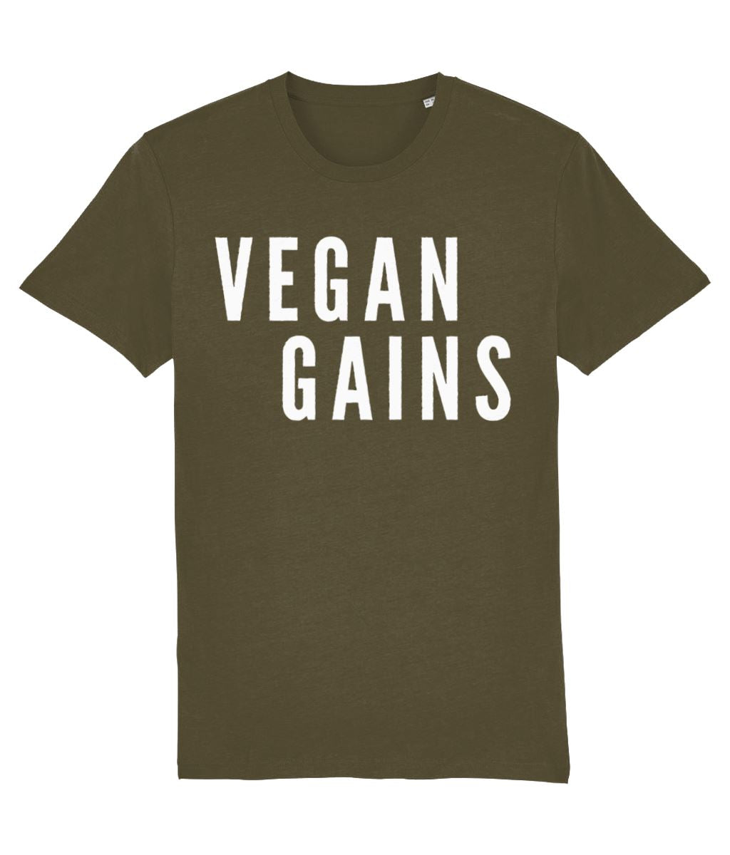 """Vegan Gains"" T-Shirt - 100% Organic Cotton (Unisex) Clothing Vegan Original British Khaki X-Small"
