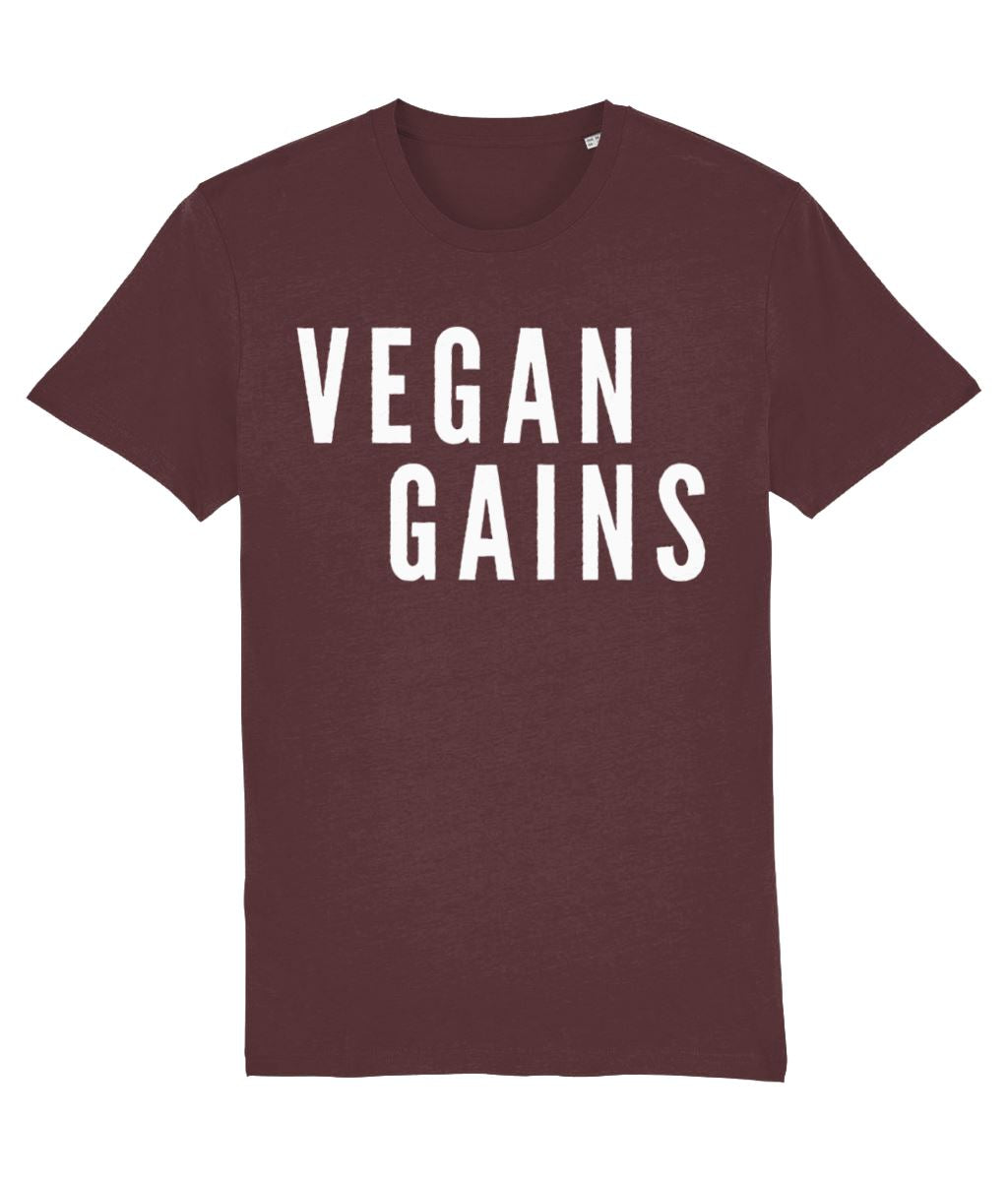 """Vegan Gains"" T-Shirt - 100% Organic Cotton (Unisex) Clothing Vegan Original Burgundy XX-Small"