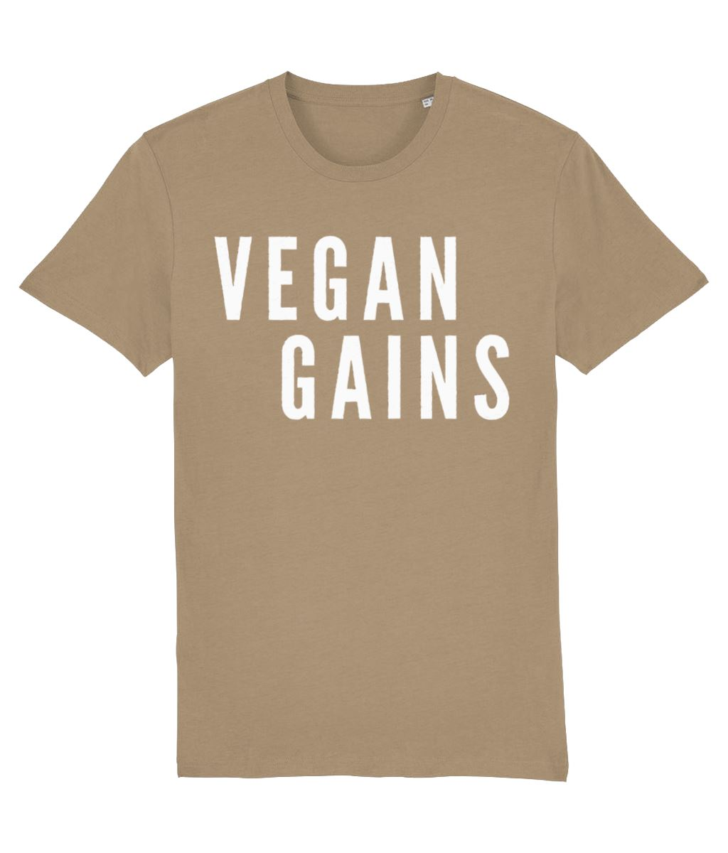 """Vegan Gains"" T-Shirt - 100% Organic Cotton (Unisex) Clothing Vegan Original Camel X-Small"