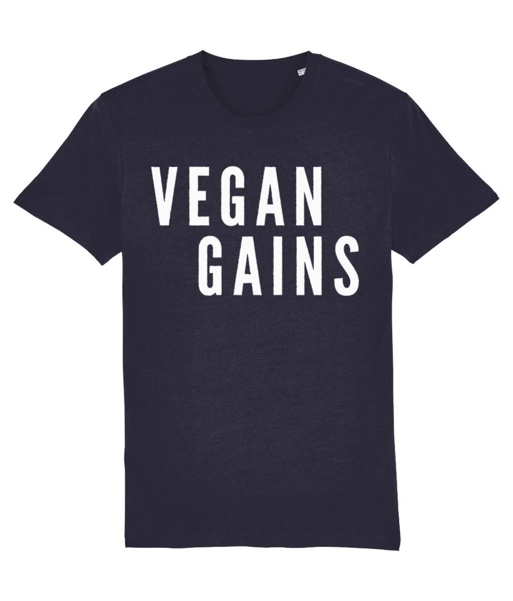 """Vegan Gains"" T-Shirt - 100% Organic Cotton (Unisex) Clothing Vegan Original French Navy XX-Small"