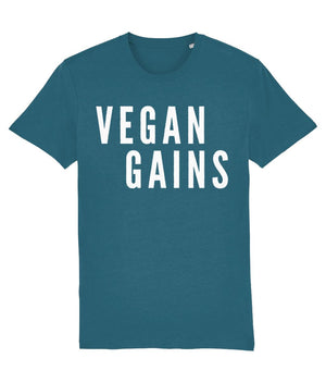 """Vegan Gains"" T-Shirt - 100% Organic Cotton (Unisex) Clothing Vegan Original Ocean Depth X-Small"