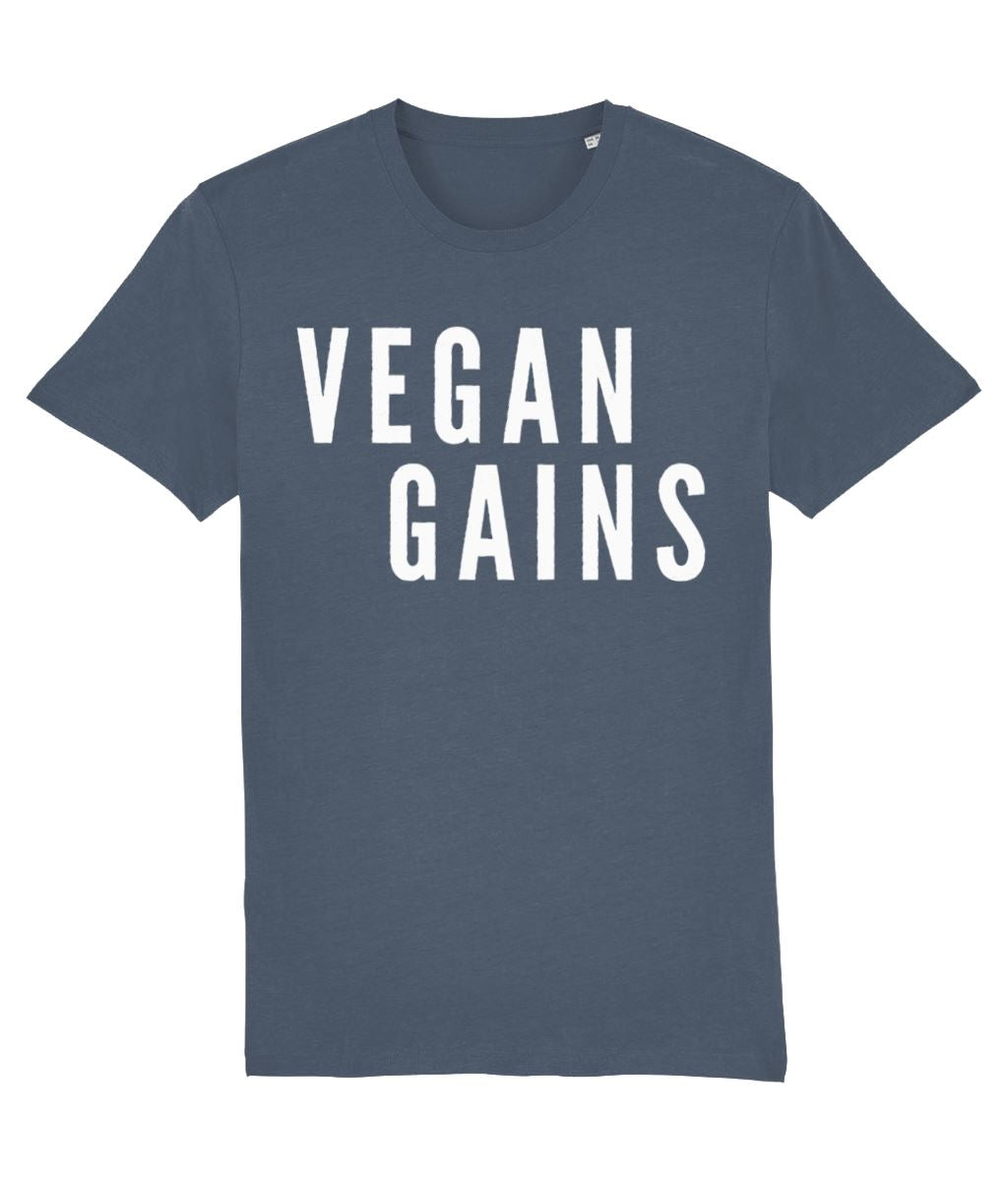 """Vegan Gains"" T-Shirt - 100% Organic Cotton (Unisex) Clothing Vegan Original Stargazer X-Small"