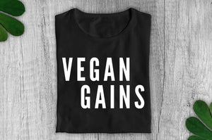 """Vegan Gains"" T-Shirt - 100% Organic Cotton (Unisex) Clothing Vegan Original"