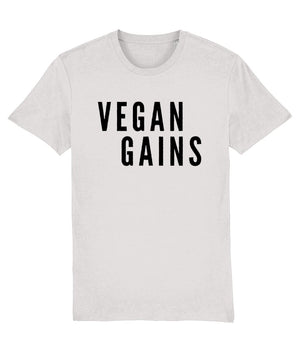 """Vegan Gains"" Vegan T-Shirt - 100% Organic Cotton (Unisex) Clothing Vegan Original Cream Heather Grey XX-Small"