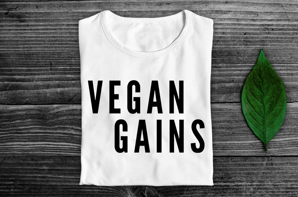 """Vegan Gains"" Vegan T-Shirt - 100% Organic Cotton (Unisex) Clothing Vegan Original"