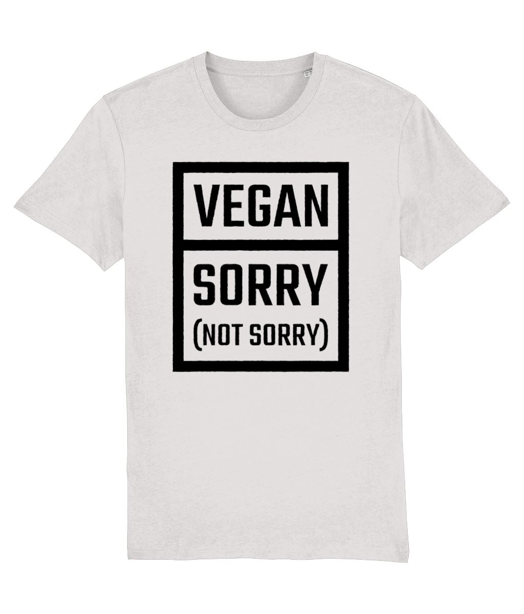 """Vegan: Sorry (Not Sorry)"" T-Shirt - 100% Organic Cotton (Unisex) Clothing Vegan Original Cream Heather Grey XX-Small"