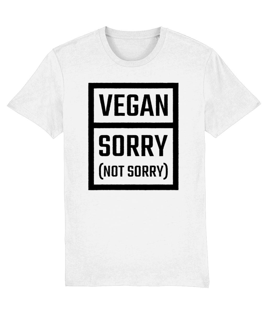 """Vegan: Sorry (Not Sorry)"" T-Shirt - 100% Organic Cotton (Unisex) Clothing Vegan Original White XX-Small"